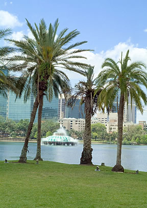 Lake Eola Park is a scenic vista in Orlando's skyline.